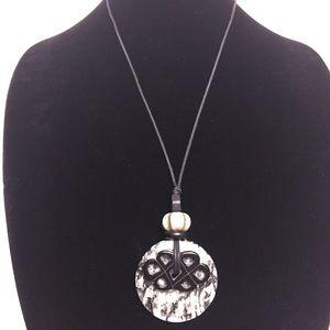 Black White Gem Stone Necklace